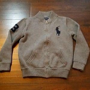 Ralph Lauren Polo Knit Zipper Sweater Gray